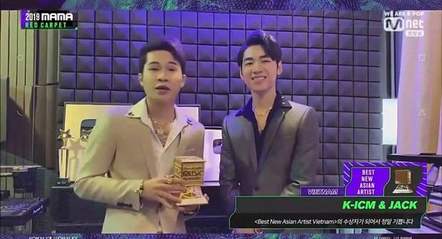 Jack và K-ICM nhận giải Nghệ sĩ mới xuất sắc nhất Việt Nam tại MAMA 2019, hào hứng trổ tài bắn tiếng Anh xuất thần - Ảnh 1.