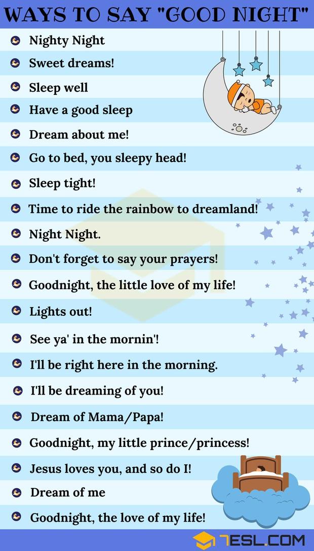 """30 cách chúc crush ngủ ngon bằng Tiếng Anh ngọt ngào hơn hai từ """"Good Night"""" thường dùng - Ảnh 2."""