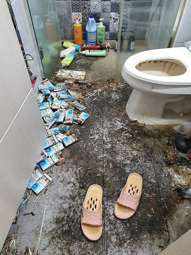 Chủ trọ hết hồn khi kiểm tra phòng trọ cho nữ sinh thuê: Rác chất chồng, tàn thuốc đen sì nhà tắm, băng vệ sinh không thèm vứt đi - Ảnh 5.
