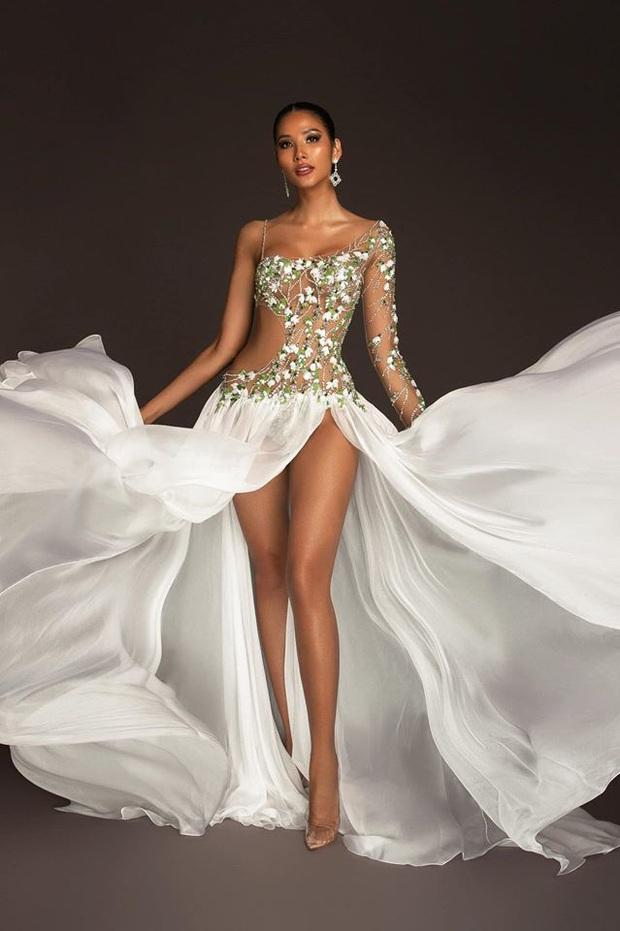 Hoàng Thùy mặc váy hoa giọt tuyết của Công Trí, diễn cuối nhưng đầy ấn tượng tại Bán kết Miss Universe 2019 - Ảnh 6.