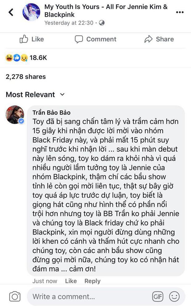 BB Trần vào hẳn fanpage Jennie, phân trần bị sang chấn tâm lý vì bầu show mời đi hát đám ma sau khi diễn Kill This Love phiên bản cục súc - Ảnh 2.