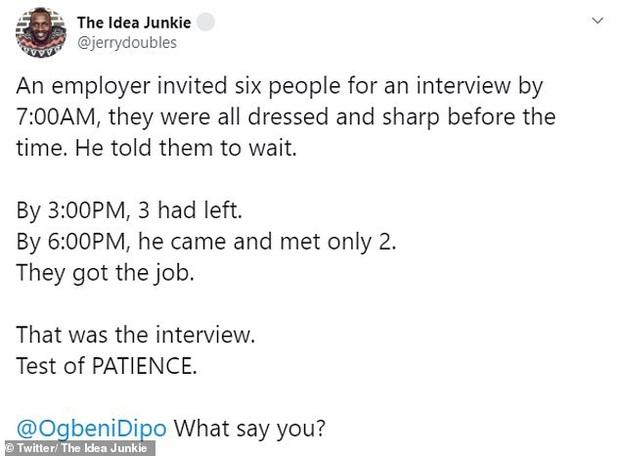 Nhà tuyển dụng bắt ứng viên chờ gần 12 tiếng trong buổi phỏng vấn để thử thách lòng kiên nhẫn và nhận về kết quả đầy bất ngờ - Ảnh 1.