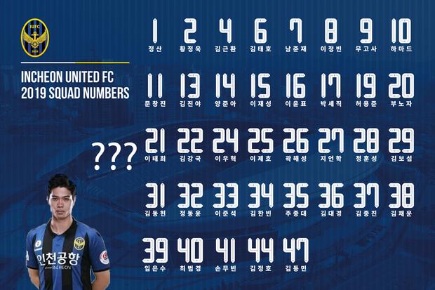 CLB Incheon United công bố danh sách cầu thủ và số áo, Công Phượng chưa góp mặt - Ảnh 2.