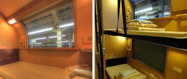 Tàu hỏa xuyên đêm ở Nhật Bản: Bên ngoài cũ kĩ đơn sơ, bên trong nội thất tiện nghi bất ngờ - Ảnh 13.