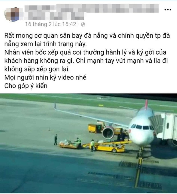 Kỷ luật các nhân viên ném hành lý ký gửi của hành khách ở Sân bay quốc tế Đà Nẵng - Ảnh 2.