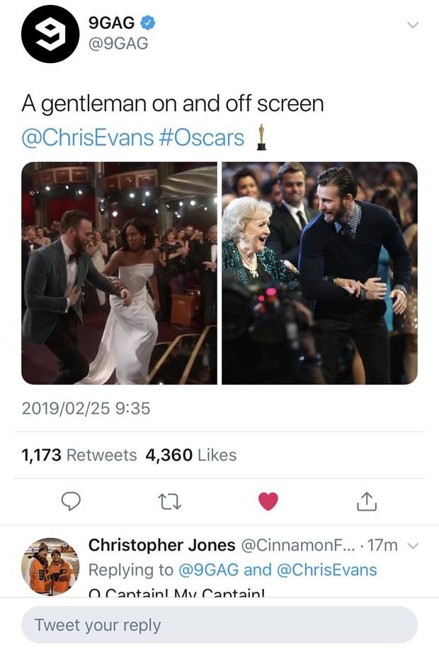 Khoảnh khắc gây sốt tại Oscar 2019: Chàng đội trưởng Mỹ Chris Evans xứng đáng ẵm giải quý ông dễ mến nhất! - Ảnh 4.