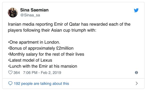 Vô địch Asian Cup 2019: Mỗi tuyển thủ Qatar được thưởng 60 tỷ đồng, nhận lương đến hết đời - Ảnh 1.