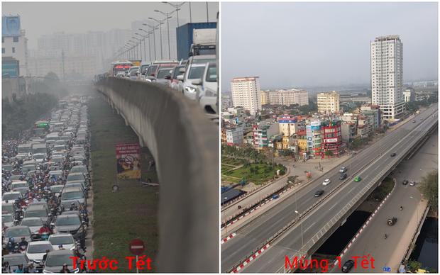 Hình ảnh so sánh trước và sau cho thấy đường phố Hà Nội khác biệt đến lạ thường khi bước sang ngày đầu năm mới - Ảnh 1.