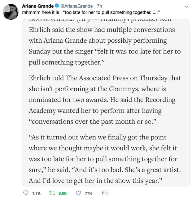 Không khí trước giờ G album thank u, next quá nóng: Ariana tố BTC Grammy dối trá về sự xuất hiện của mình - Ảnh 1.