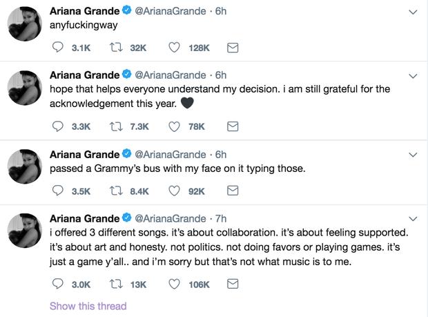 Không khí trước giờ G album thank u, next quá nóng: Ariana tố BTC Grammy dối trá về sự xuất hiện của mình - Ảnh 3.