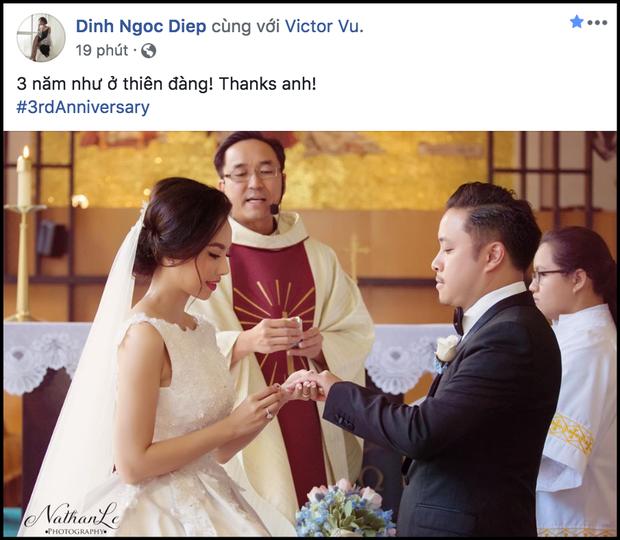 Cách kỷ niệm 3 năm ngày cưới đơn giản nhưng vẫn đầy ngọt ngào của Đinh Ngọc Diệp và Victor Vũ - Ảnh 1.
