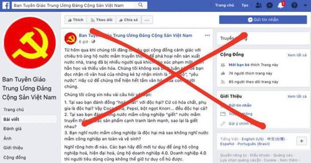 Ban Tuyên giáo Trung ương cảnh báo tài khoản facebook mạo danh đưa thông tin sai vụ nước mắm - Ảnh 1.