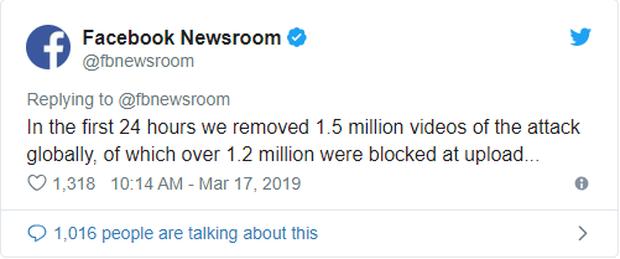 Chỉ 24 giờ sau vụ xả súng ở New Zealand, Facebook đã xóa và chặn hết hơn 1,5 triệu video liên quan - Ảnh 1.