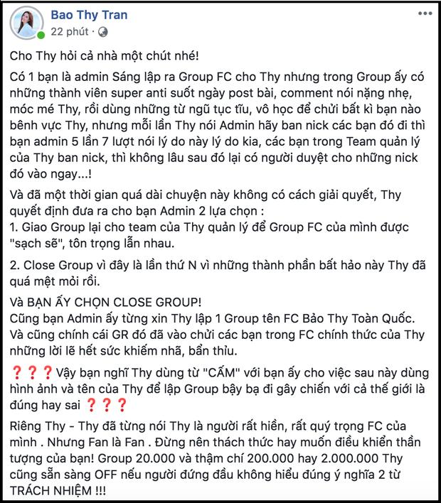 Bị nói dùng từ ngữ nặng nề với fan khi quyết định đóng cửa group FC 20 nghìn thành viên, Bảo Thy lập tức lên tiếng đính chính! - Ảnh 2.