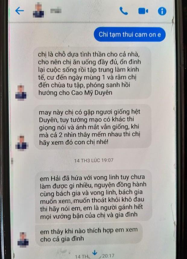 Mẹ nữ sinh Cao Mỹ Duyên nhận nhiều tin nhắn gạ gẫm cúng vong - Ảnh 1.