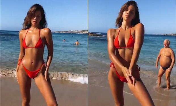Clip: Người mẫu sexy khoe eo thon bên bãi biển, nhưng 20 triệu khán giả lại thích ông chú bụng bia vô tình vào hình hơn - Ảnh 2.