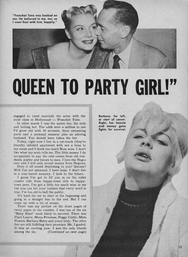 Barbara Payton - biểu tượng sa ngã của Hollywood: Được kì vọng không kém gì Marilyn Monroe nhưng lại trượt dài trong rượu chè, tình ái - Ảnh 3.