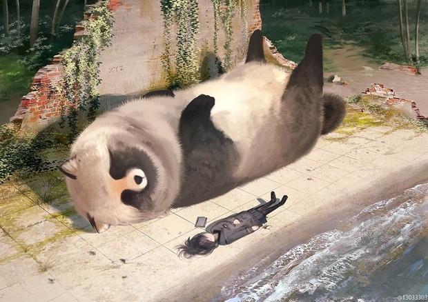 Họa sĩ Nhật Bản vẽ ra một thế giới nơi con người vui sống giữa những con thú khổng lồ - Ảnh 15.