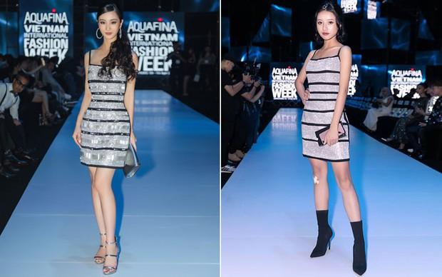 Lại một cái duyên kỳ ngộ của Jun Vũ: Chẳng hẹn mà chọn cùng một  kiểu váy, đi cùng một show với bạn diễn - Ảnh 5.