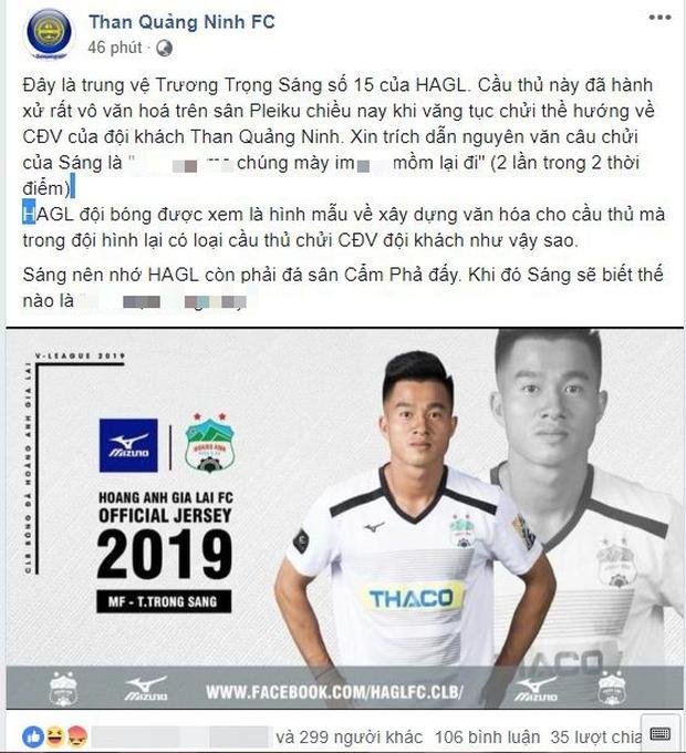 Cầu thủ HAGL lên tiếng thanh minh sau khi bị tố chửi CĐV Than Quảng Ninh - Ảnh 1.