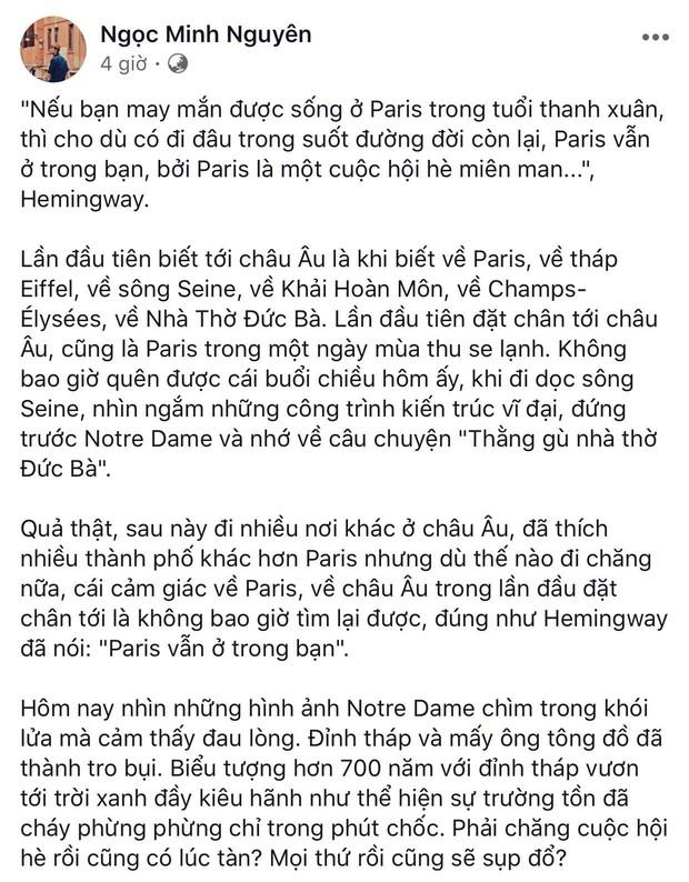 """Giới trẻ Việt đồng loạt đăng status xót xa khi thấy Nhà thờ Đức Bà Paris cháy: """"Cuộc hẹn với nước Pháp đã không còn vẹn nguyên!"""" - Ảnh 11."""