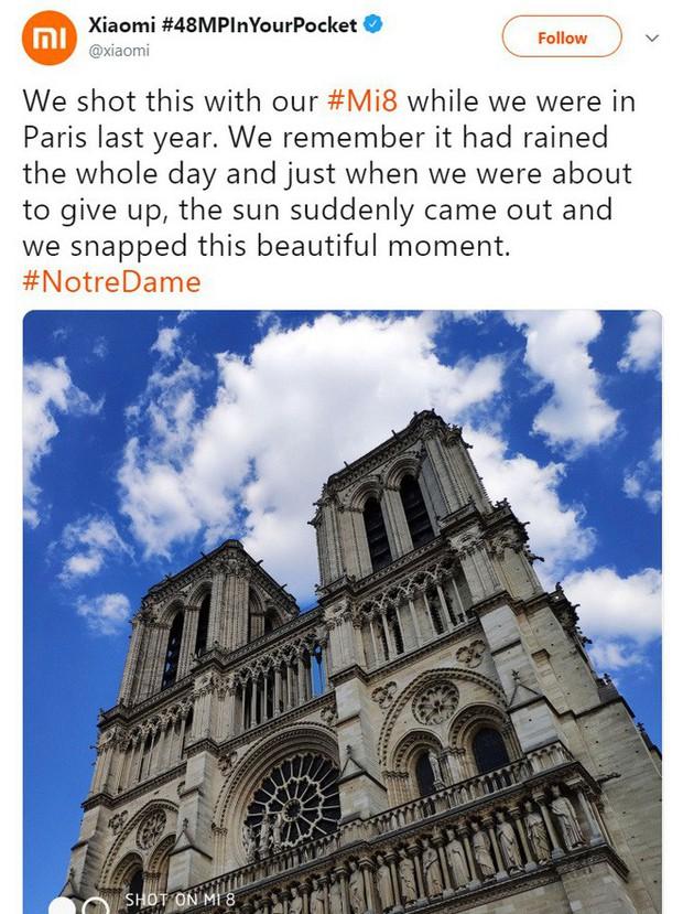 Dùng ảnh Nhà thờ Đức Bà Paris để quảng cáo giữa thảm kịch, Xiaomi hốt ngay cả rổ gạch đá - Ảnh 1.