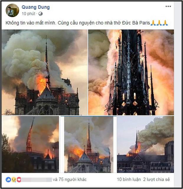 Sao Việt đau xót cầu nguyện trước cảnh tượng Nhà thờ Đức Bà Paris chìm trong biển lửa - Ảnh 3.