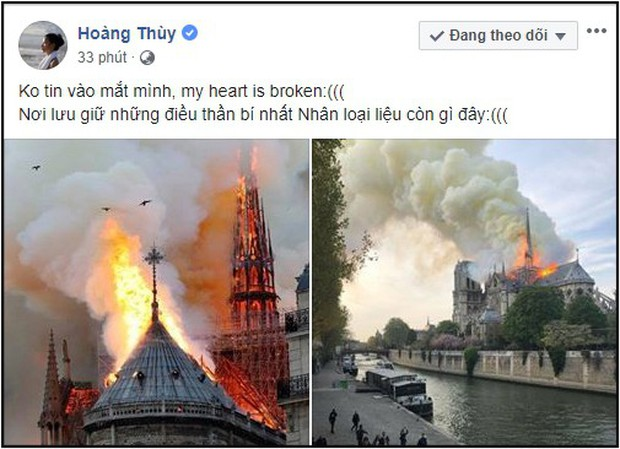 Sao Việt đau xót cầu nguyện trước cảnh tượng Nhà thờ Đức Bà Paris chìm trong biển lửa - Ảnh 9.