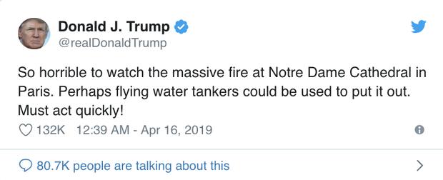 Cháy Nhà thờ Đức Bà Paris: Tổng thống Trump cùng các nguyên thủ quốc gia trên thế giới bày tỏ sự đau lòng trước vụ việc - Ảnh 3.