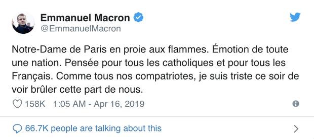 Cháy Nhà thờ Đức Bà Paris: Tổng thống Trump cùng các nguyên thủ quốc gia trên thế giới bày tỏ sự đau lòng trước vụ việc - Ảnh 2.