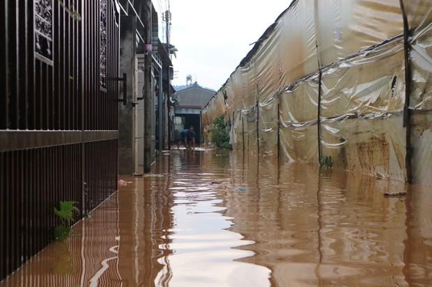 Đà Lạt mưa lớn kéo dài, nhiều nơi ngập nặng, người dân cuống cuồng lội nước - Ảnh 2.
