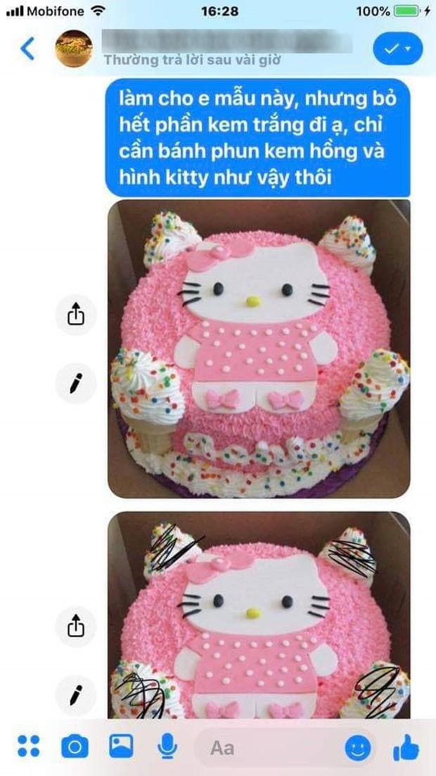 Hí hửng đặt mua bánh sinh nhật Hello Kitty, cô gái ngậm ngùi nhận ra hình ảnh vốn chỉ mang tính minh họa - Ảnh 2.