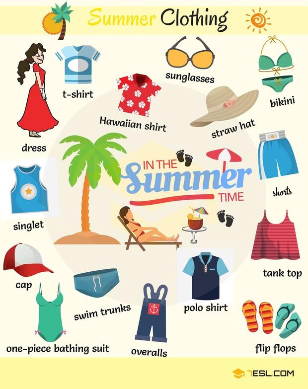 Những từ vựng Tiếng Anh để chỉ các loại quần áo, phụ kiện cực sành điệu cho mùa hè - Ảnh 1.