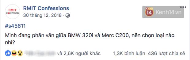 Đúng là trường con nhà giàu nhất nhì Việt Nam, sinh viên RMIT lên Confessions hỏi mua BMW hay Merc để đi học, nhà có 7 tỷ thì làm gì? - Ảnh 1.