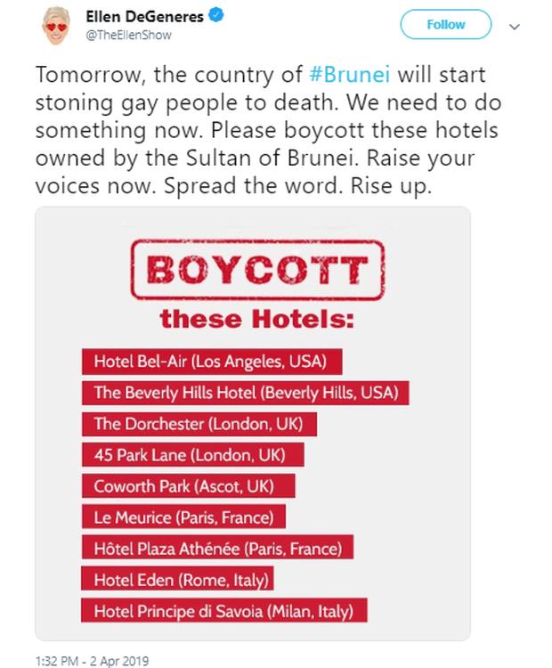 Loạt sao nổi tiếng thế giới lên tiếng tẩy chay điều luật tử hình ném đá cho đến chết với người đồng tính của quốc gia Brunei - Ảnh 4.