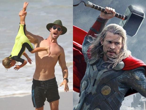 Có một ông bố Chris Hemsworth bạo dạn đến thế: Bế con trai mà không khác gì đang cầm búa đánh Thanos - Ảnh 5.