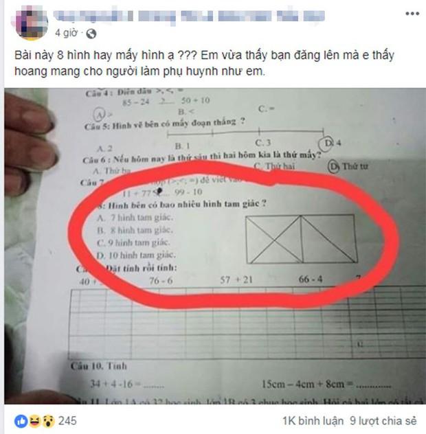 Bài toán đếm hình tam giác khiến phụ huynh hoang mang - Ảnh 1.