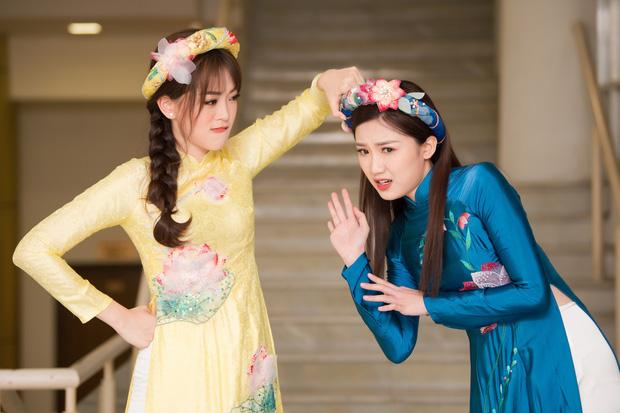 Phương Nga diện áo dài nền nã, thân thiết khi đụng độ bạn gái màn ảnh của Bình An - Ảnh 3.