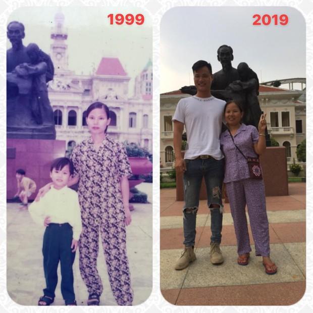 Bức ảnh đáng yêu nhất ngày: Cùng địa điểm, cùng con người nhưng sau 20 năm, con trai đã to gấp đôi mẹ mất rồi! - Ảnh 1.
