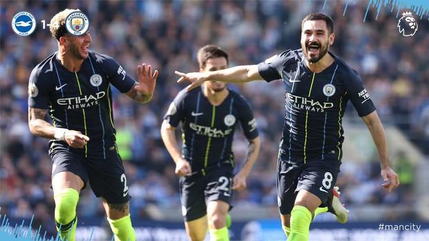 Brighton 1-4 Man City: Thắng đậm lượt trận cuối, Man City chính thức giành chức vô địch Ngoại hạng Anh 2018/2019 - Ảnh 3.