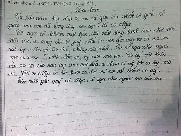 Cười ngất với bài văn tả cô giáo có đôi mắt long lanh tròn như hai hột vải - Ảnh 1.