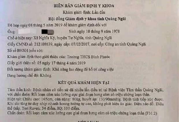 Vô cớ đánh học sinh, thầy giáo ở Quảng Ngãi bị chẩn đoán mắc bệnh tâm thần - Ảnh 2.