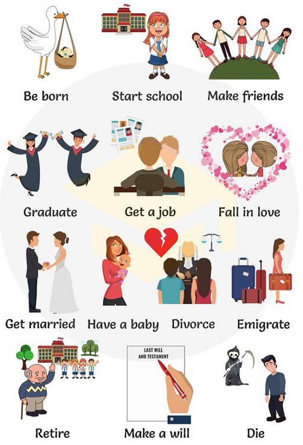 Cách nói về những giai đoạn khác nhau của cuộc đời trong Tiếng Anh - Ảnh 1.