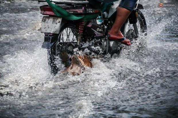 Ảnh: Đường phố Sài Gòn ngập nặng sau cơn mưa, nhiều người đi xe máy suýt té ngã trước đầu ô tô - Ảnh 8.