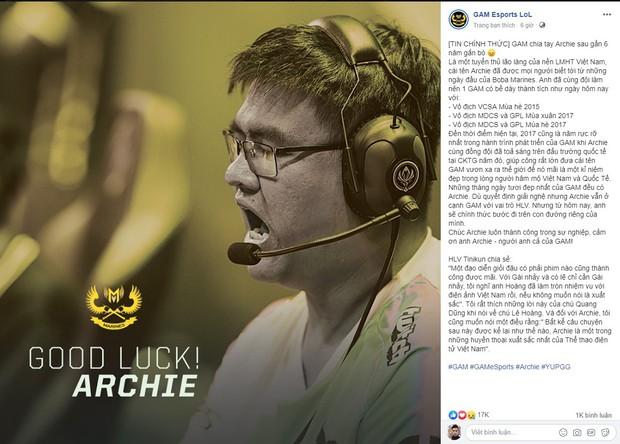 Chính thức: Huyền thoại Archie chia tay GAM Esports sau 6 năm gắn bó - Ảnh 1.