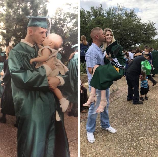 2 tấm hình minh chứng tình cha con thiêng liêng: 18 năm cũng chỉ là con số khi con mãi là đứa trẻ trong vòng tay cha - Ảnh 1.