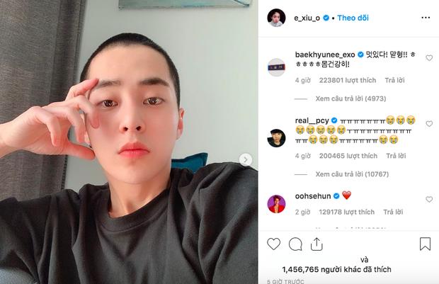 Dậy sóng trước hình anh cả Xiumin cạo đầu để mai nhập ngũ, nhưng bình luận của loạt thành viên EXO mới gây chú ý - Ảnh 1.