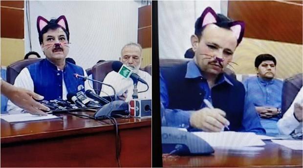 Livestream họp báo mà quên tắt filter mèo cute, quan chức Pakistan gây xôn xao MXH quốc tế - Ảnh 3.