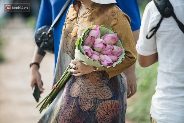 Đầm sen ở Nhật Tân có gì hot mà người dân Hà Nội ùn ùn kéo đến, lội xuống hồ chụp ảnh mỗi ngày? - Ảnh 9.