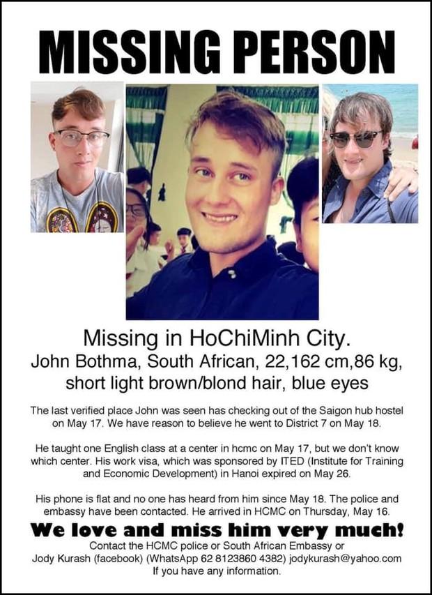 Chàng trai Nam Phi dạy tiếng Anh mất tích 2 tuần ở Việt Nam - Ảnh 4.